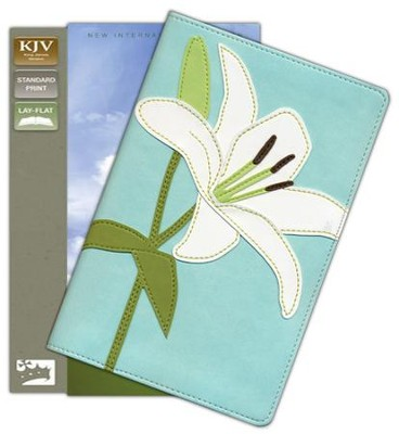 KJV Thinline Bloom Collection Bible, Italian Duo-Tone, White Lily  -