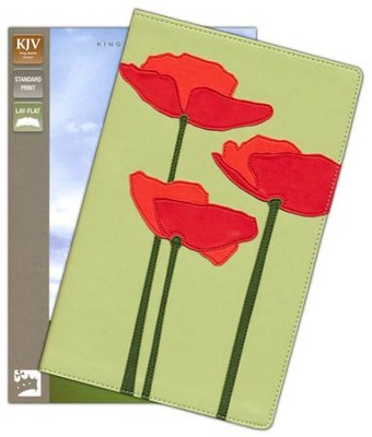 KJV Thinline Bloom Collection Bible, Compact, Italian Duo-Tone, Poppies  -