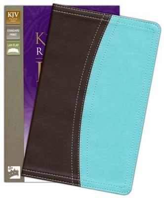 King James Version Reference Bible, Italian Duo-Tone, Chocolate/Turquoise - Imperfectly Imprinted Bibles  -