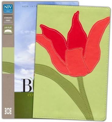 NIV Thinline Bloom Collection Bible, Imitation Leather, Red Tulip  -