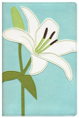 NIV Thinline Bloom Collection Bible, Compact, Italian Duo-Tone, White Lily  -