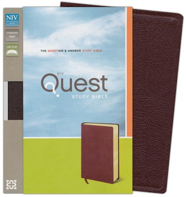 NIV Quest Study Bible: The Question and Answer Bible, Bonded Leather, Burgundy  -