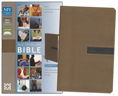 NIV Thinline Bible, Compact, Italian Duo-Tone, Dark Taupe/Graphite  -