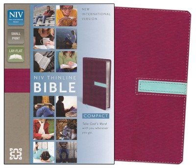 NIV Thinline Bible, Compact, Italian Duo-Tone, Razzleberry/Sea Glass  -