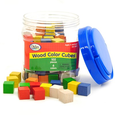 Color Cubes, Wooden (100 Pieces)  -
