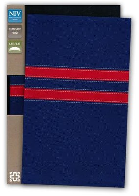 NIV College Devotional Bible, Italian Duo-Tone, Navy/Red  -