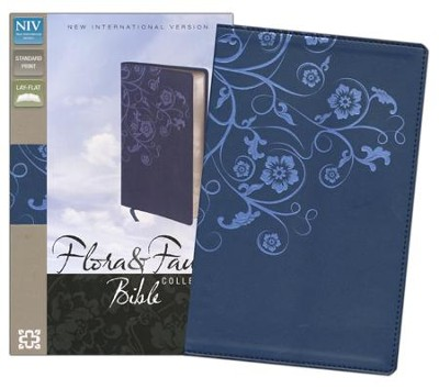 NIV Flora and Fauna Collection Bible, Deluxe Edition,  Italian Duo-Tone, Marina Blue & Floral - Imperfectly Imprinted Bibles  -