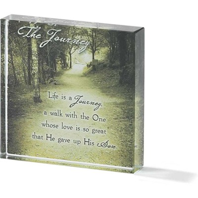 Life is a Journey Tabletop Glass Block  -