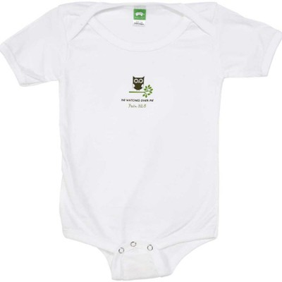 He Watches Over Me Romper, White, 6 Months  -