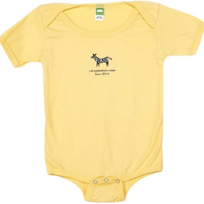 I am Wonderfully Made Romper, Yellow, 12 Months  -