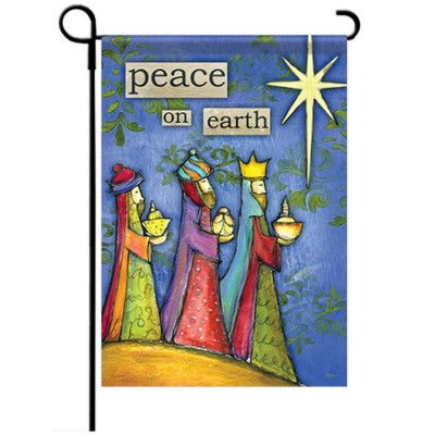 Peace on Earth Flag, Small  -     By: Lisa Kaust