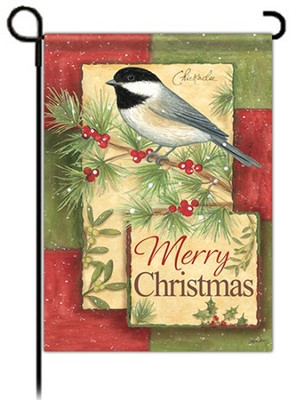 Merry Christmas Garden Flag, Chickadee   -     By: Annie LaPoint