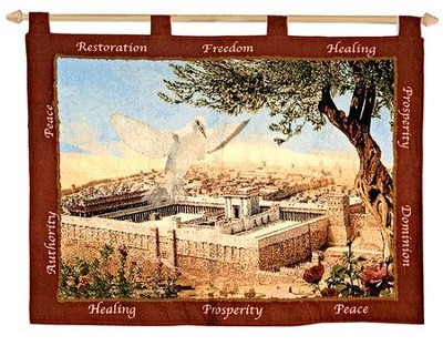 Dove and Temple Tapestry Banner    -