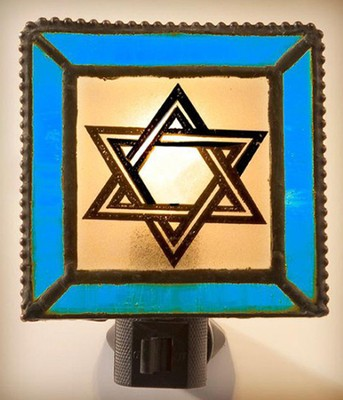 Star of David Night Light w/Blue Border   -