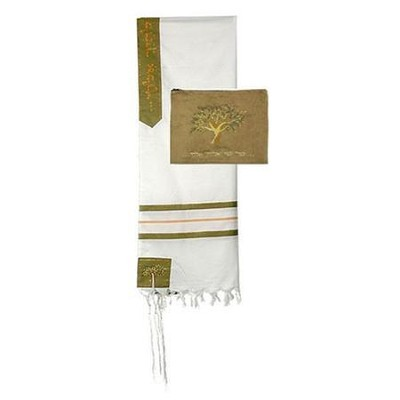 Boaz Tallit w/Velvet Bag Set, 24 Wool Shawl   -