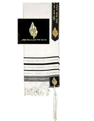 Elijah Tallit w/Velvet Bag Set/24 Wool Shawl   -