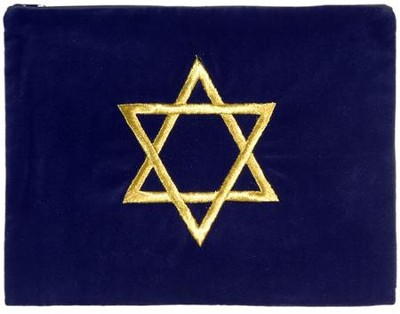Star of David Tallit Bag, Blue Velvet   -