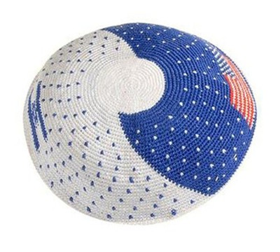 Israeli Crocheted Kippah Blue & White   -