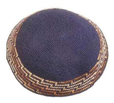 Navy Blue Brown Trim Crocheted Kippah   -