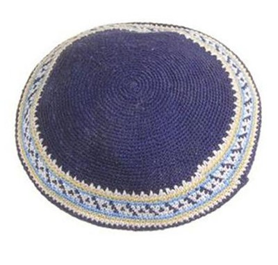 Navy Blue White Trim Crocheted Kippah   -