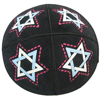 Star of David Leather Kippah   -