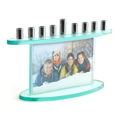 Glass Hanukkah Menorah, Two Picture Inserts   -