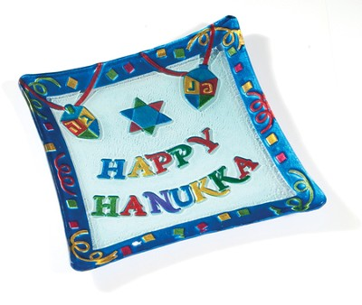 Happy Hannukah Glass Plate    -