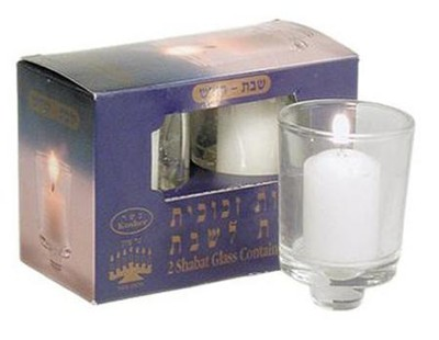 Refill Candles for Menorah, Glass, Box of 2    -
