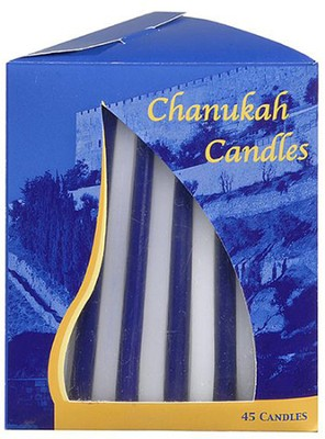 Blue and White Hanukkah Candles, 45   -