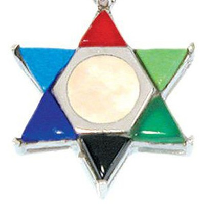 Mother of Pearl Multicolor Star of David   -