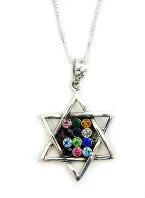 Breastplate Star of David Zirconia Necklace   -