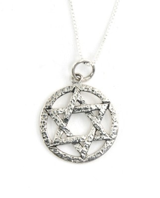 Encircled Star of David Hammered Finish Silver Pendant   -