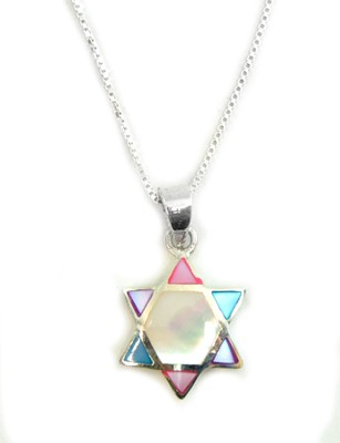 Mother of Pearl Star of David Necklace   -