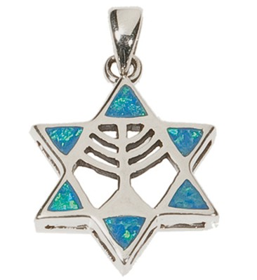 Opal Blue Star of David Menorah Necklace with Silver Chain       -
