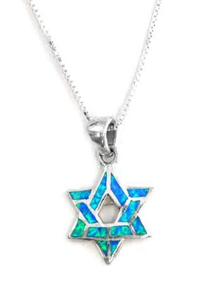 Blue Opal Star of David Necklace   -