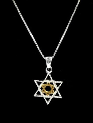 Star of David Pendant, Gold and Silver   -