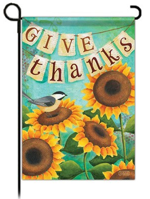 Give Thanks (with Sunflower and Bird), Small Flag  -     By: Karla Dornacher