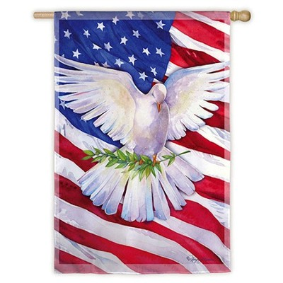 Peace Dove American Flag, Large  -