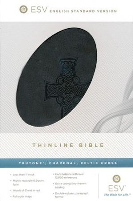 ESV Classic Thinline, Imitation Leather Charcoal With Celtic Cross Design  -