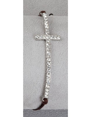 Stone Cross Bracelet Brown Thread, Silver Cross  -