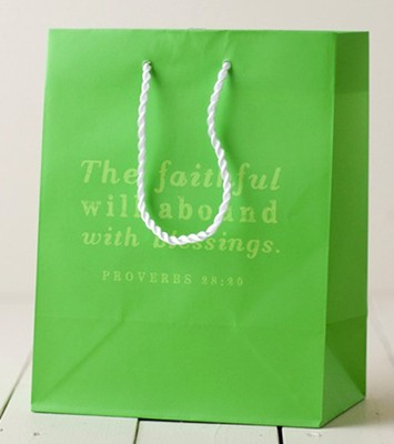 The Faithful Will Abound Gift Bag, Green, Medium  -