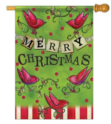 Merry Christmas Flag L, Banner & Red Birds   -     By: Lisa Kaus