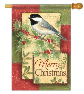 Merry Christmas (Chickadee), Large Flag  -     By: Annie LaPoint