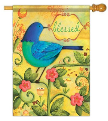 Blessed Bird Flag, Large  -     By: Karla Dornacher