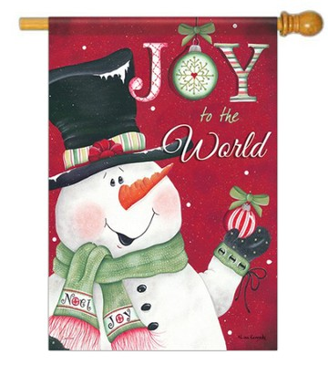 Joy to the World Snowman Flag, Large Size   -     By: Lisa Kennedy