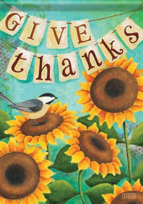 Give Thanks Sunflower Flag, Large   -     By: Karla Dornacher