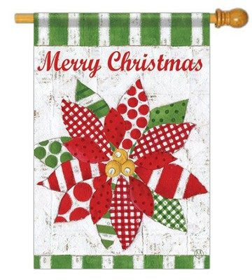 Merry Christmas Poinsettia Quilt, Large Flag   -     By: Maria Garbangati