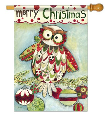 Merry Christmas (owl), Large Flag  -     By: Bernadette Deming