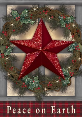 Peace On Earth (Star), Large Flag  -     By: Carrie Knoff