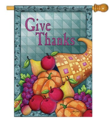 Give Thanks (Cornucopia), Large Flag  -     By: Jim Shore